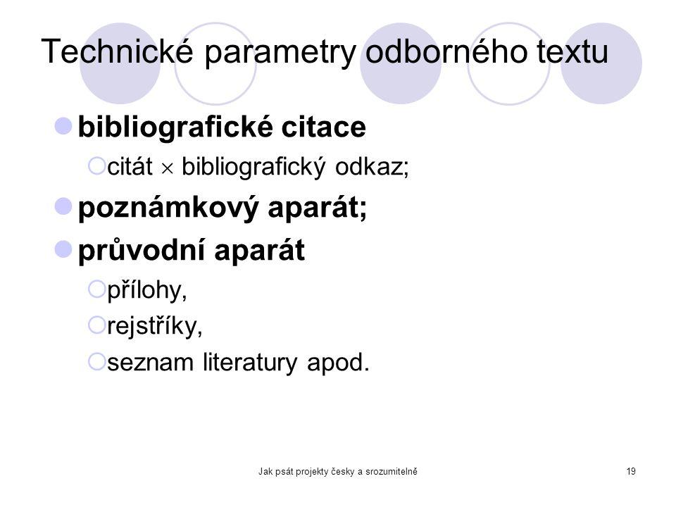 Technické parametry odborného textu