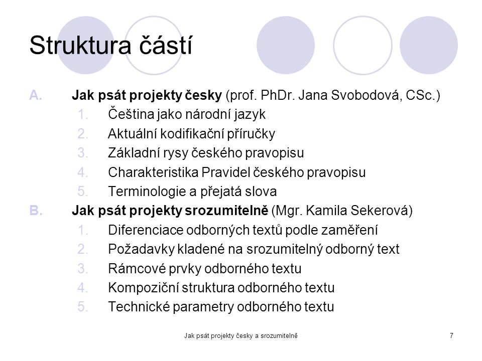 Jak psát projekty česky a srozumitelně