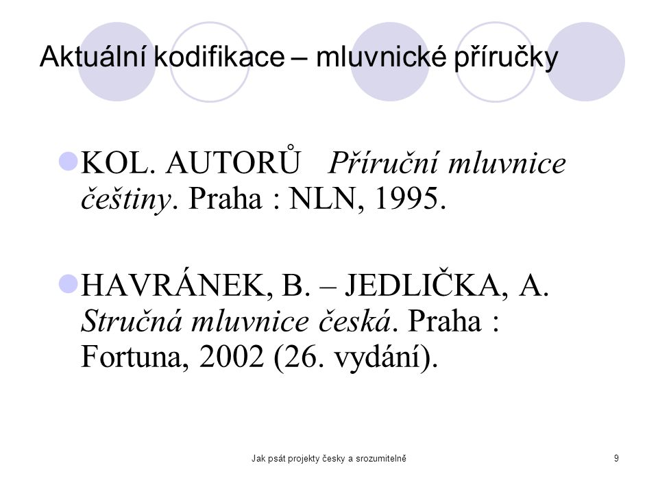 Aktuální kodifikace – mluvnické příručky