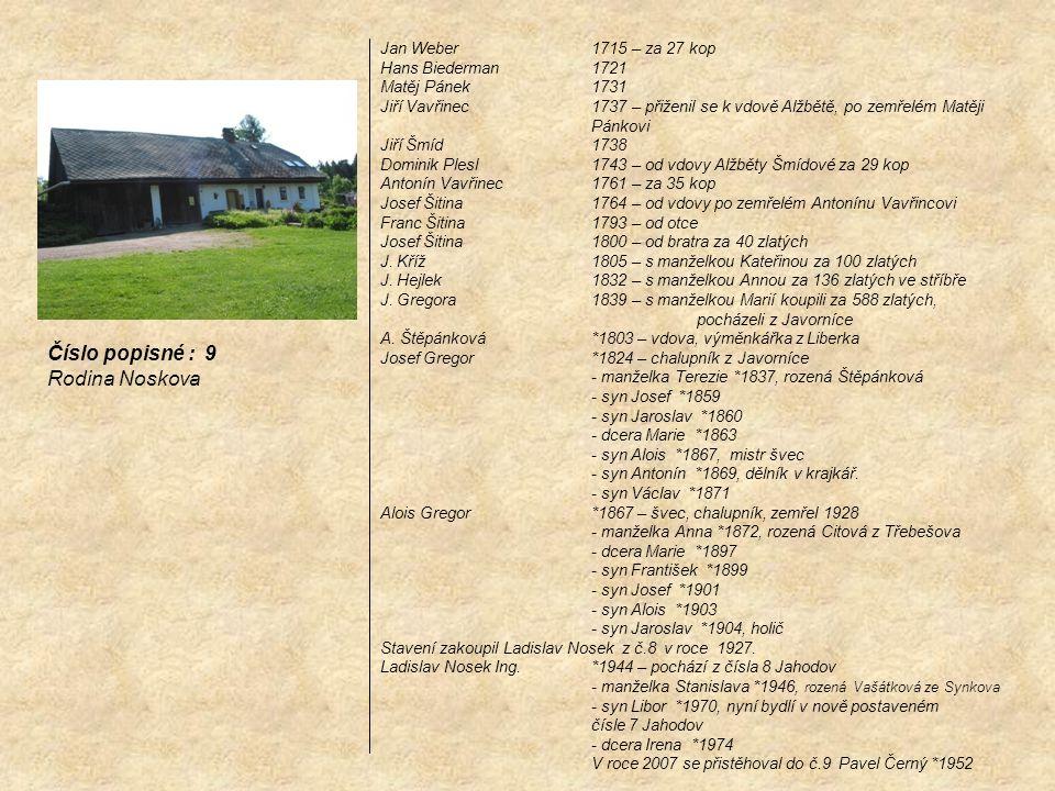 Číslo popisné : 9 Rodina Noskova Jan Weber 1715 – za 27 kop