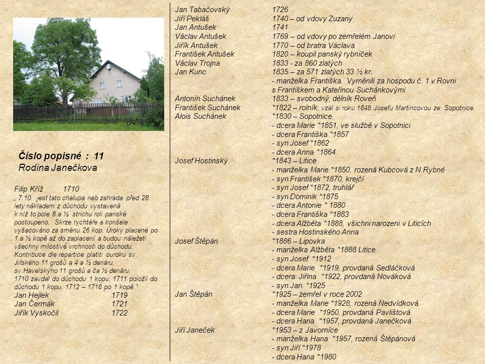 Číslo popisné : 11 Rodina Janečkova Jan Tabačovský 1726