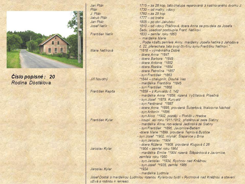 Číslo popisné : 20 Rodina Dostálova