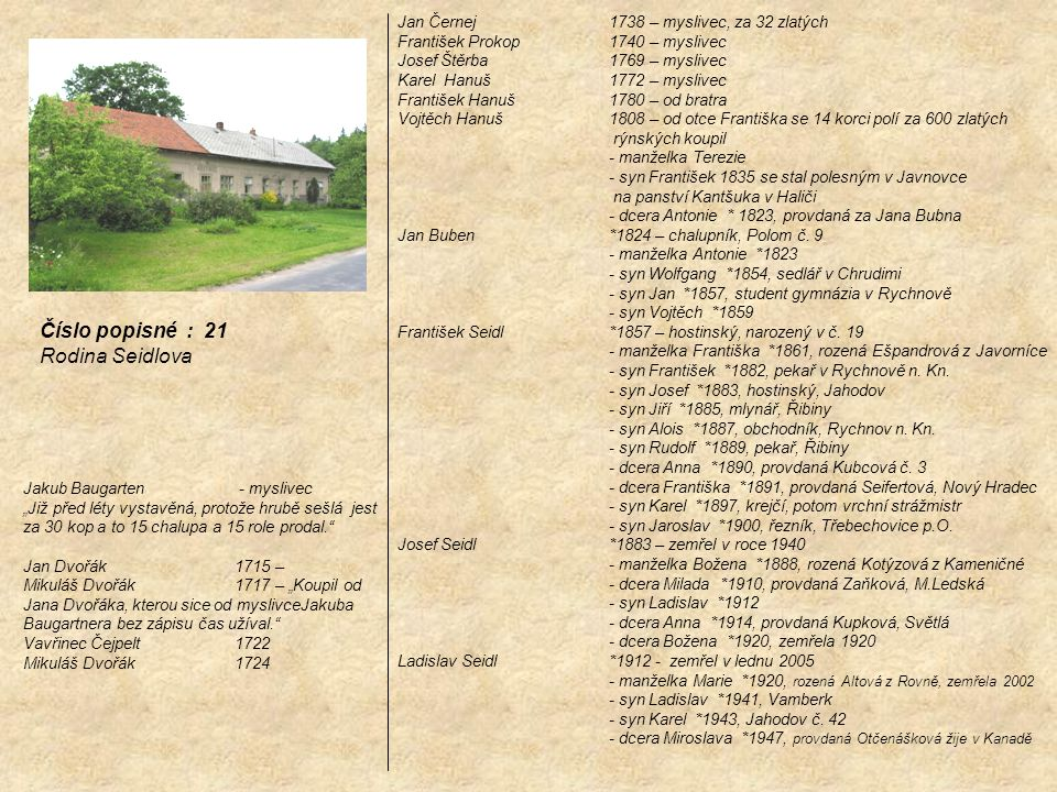 Číslo popisné : 21 Rodina Seidlova