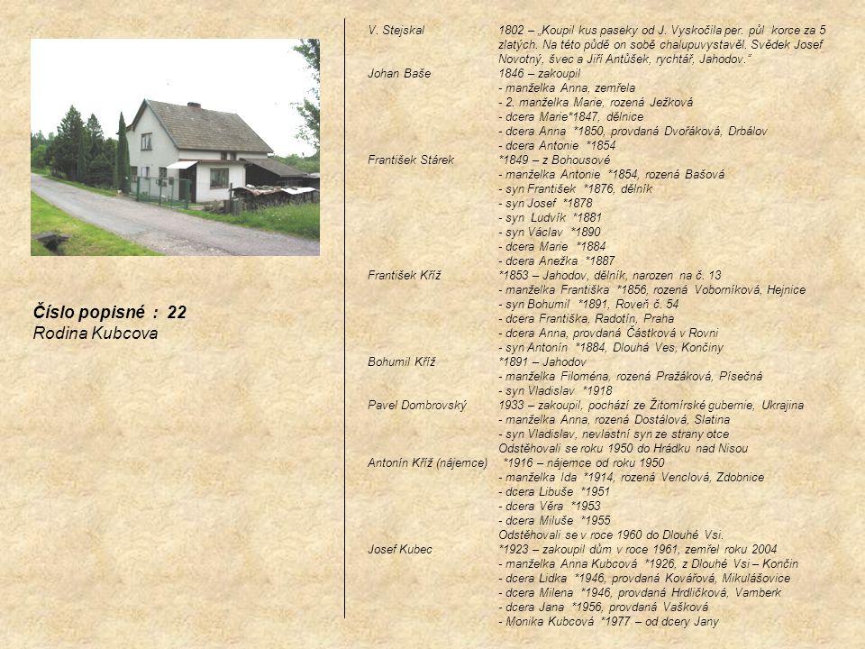 Číslo popisné : 22 Rodina Kubcova