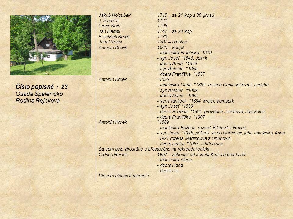 Číslo popisné : 23 Osada Spálenisko Rodina Rejnková