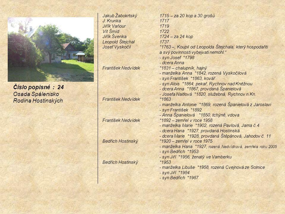 Číslo popisné : 24 Osada Spálenisko Rodina Hostinských