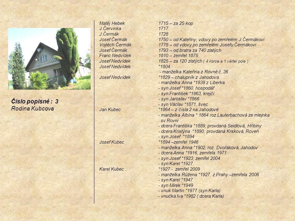 Číslo popisné : 3 Rodina Kubcova Matěj Hebek 1715 – za 25 kop