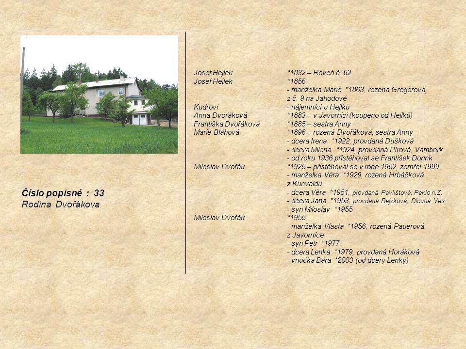 Číslo popisné : 33 Rodina Dvořákova Josef Hejlek *1832 – Roveň č. 62