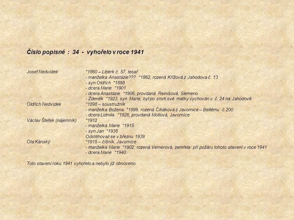 Číslo popisné : 34 - vyhořelo v roce 1941