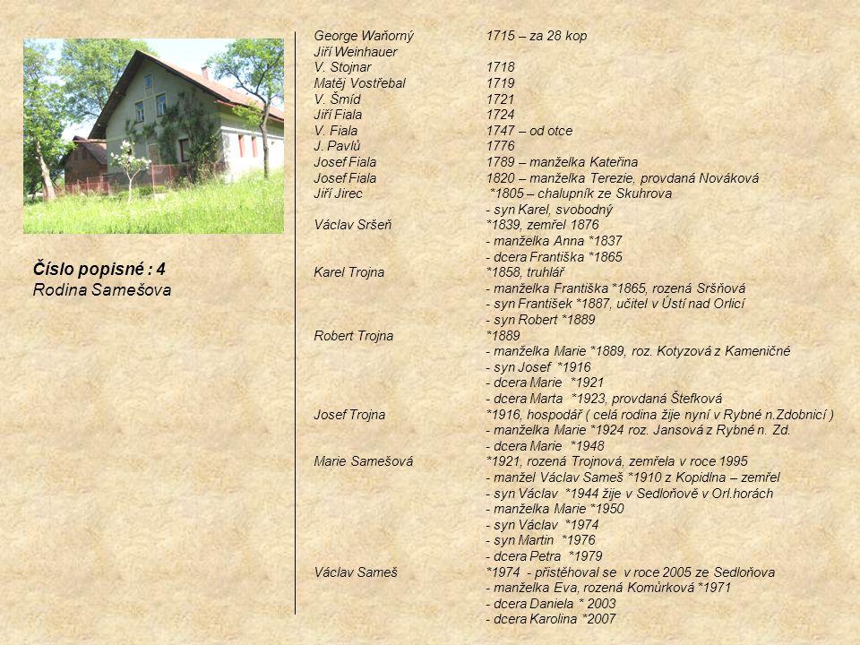 Číslo popisné : 4 Rodina Samešova George Waňorný 1715 – za 28 kop