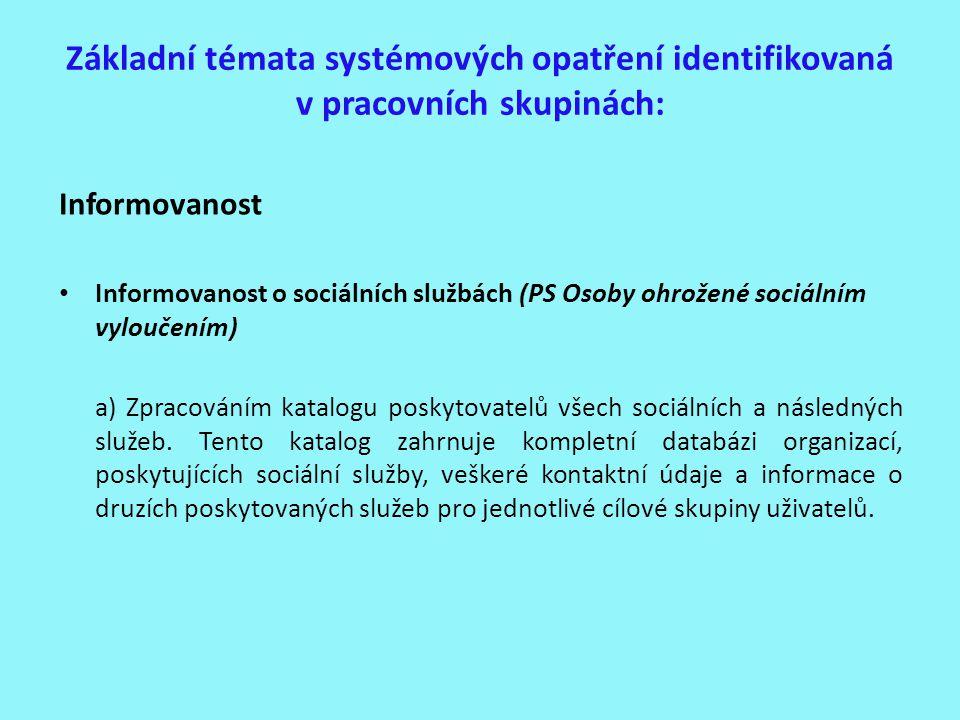 Základní témata systémových opatření identifikovaná v pracovních skupinách: