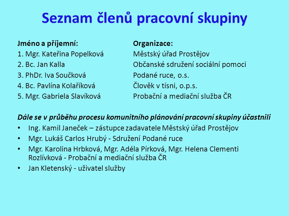 Seznam členů pracovní skupiny