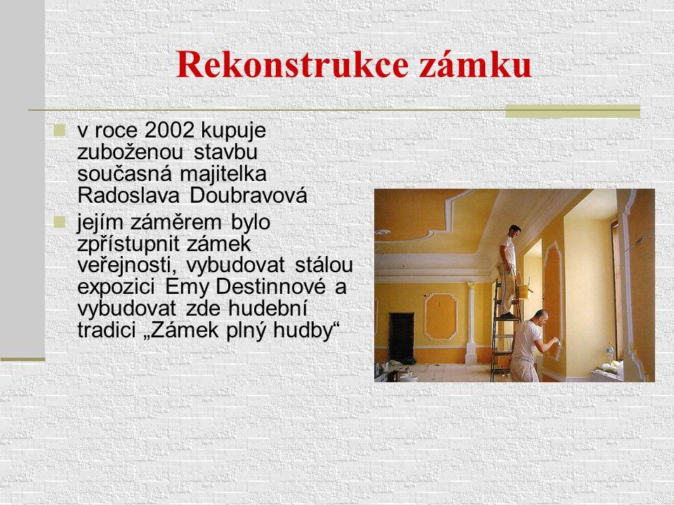 Rekonstrukce zámku v roce 2002 kupuje zuboženou stavbu současná majitelka Radoslava Doubravová.