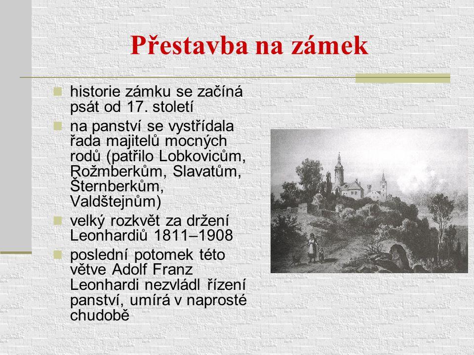 Přestavba na zámek historie zámku se začíná psát od 17. století