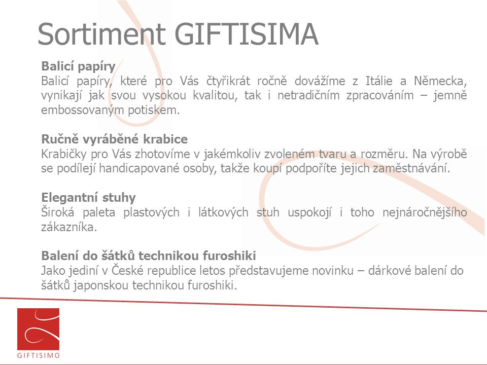 Sortiment GIFTISIMA Balicí papíry