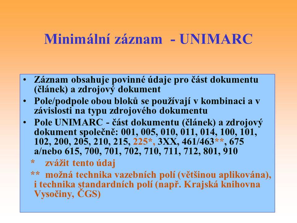 Minimální záznam - UNIMARC