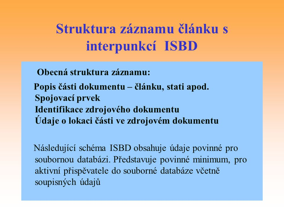 Struktura záznamu článku s interpunkcí ISBD