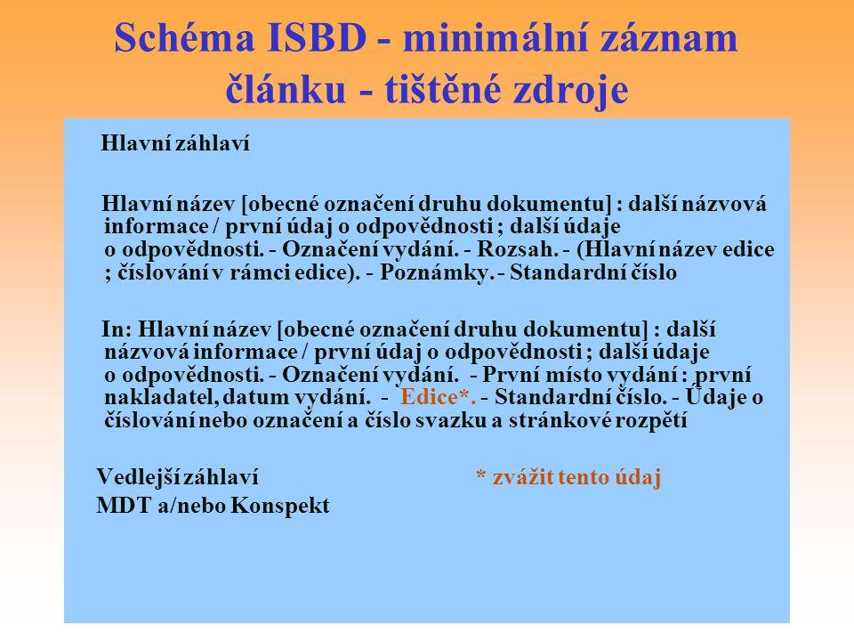 Schéma ISBD - minimální záznam článku - tištěné zdroje