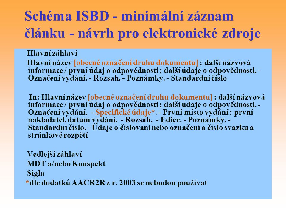 Schéma ISBD - minimální záznam článku - návrh pro elektronické zdroje