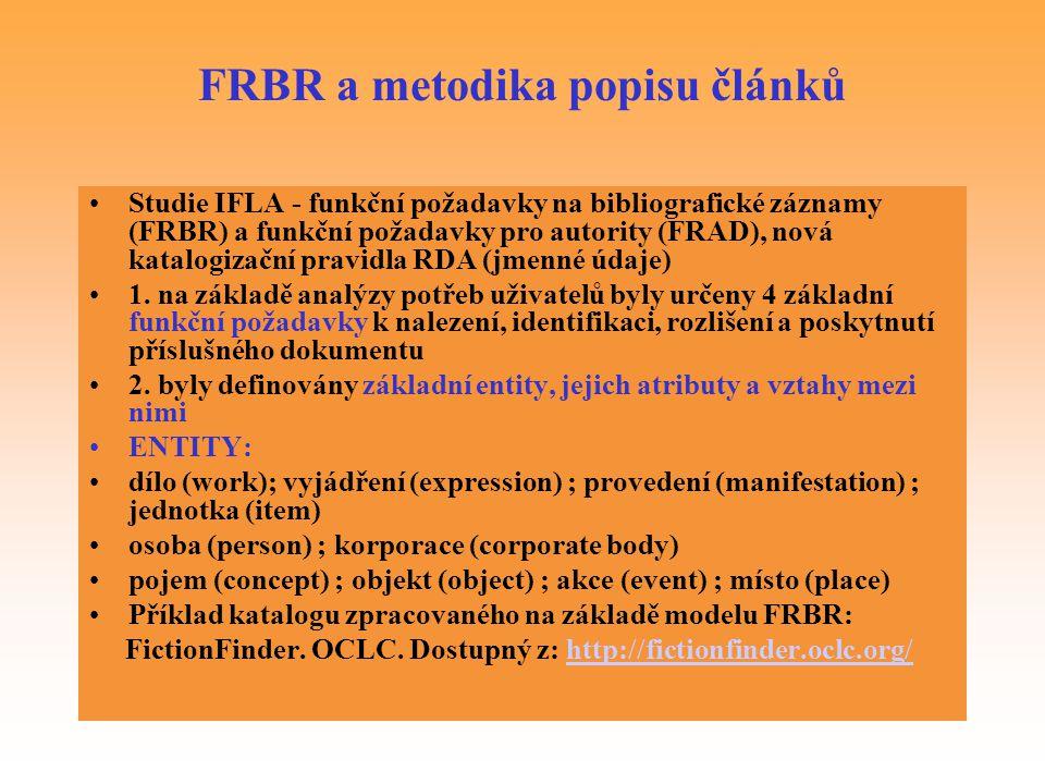 FRBR a metodika popisu článků