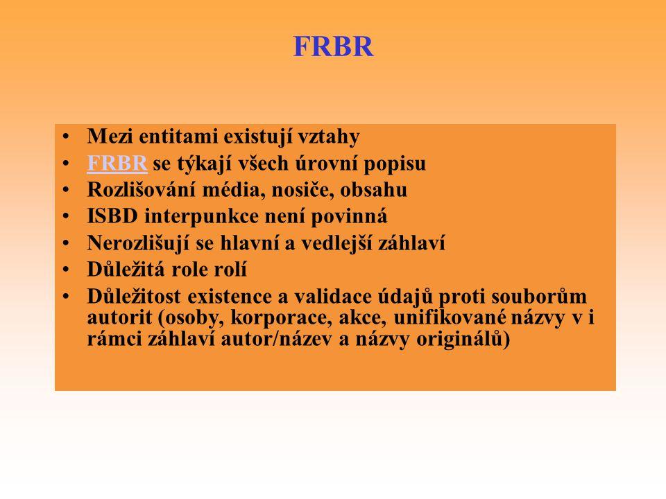 FRBR Mezi entitami existují vztahy FRBR se týkají všech úrovní popisu