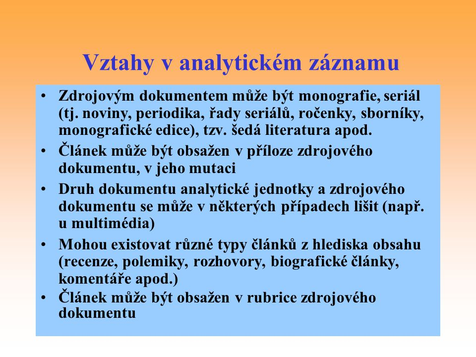 Vztahy v analytickém záznamu