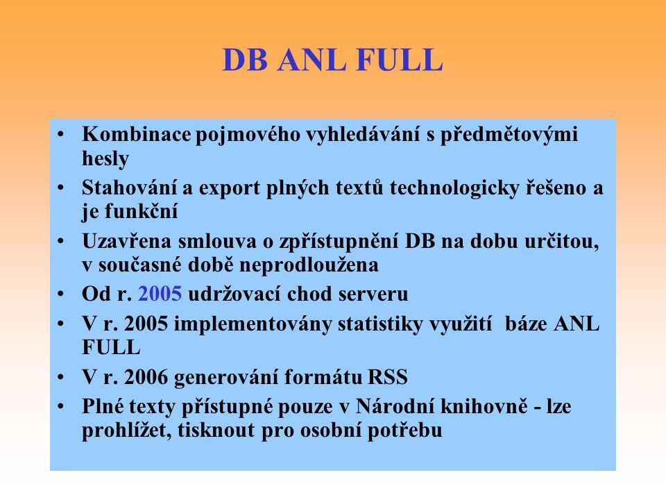 DB ANL FULL Kombinace pojmového vyhledávání s předmětovými hesly