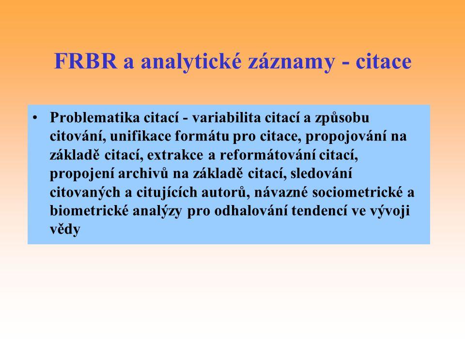 FRBR a analytické záznamy - citace