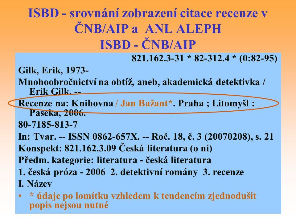 ISBD - srovnání zobrazení citace recenze v ČNB/AIP a ANL ALEPH ISBD - ČNB/AIP