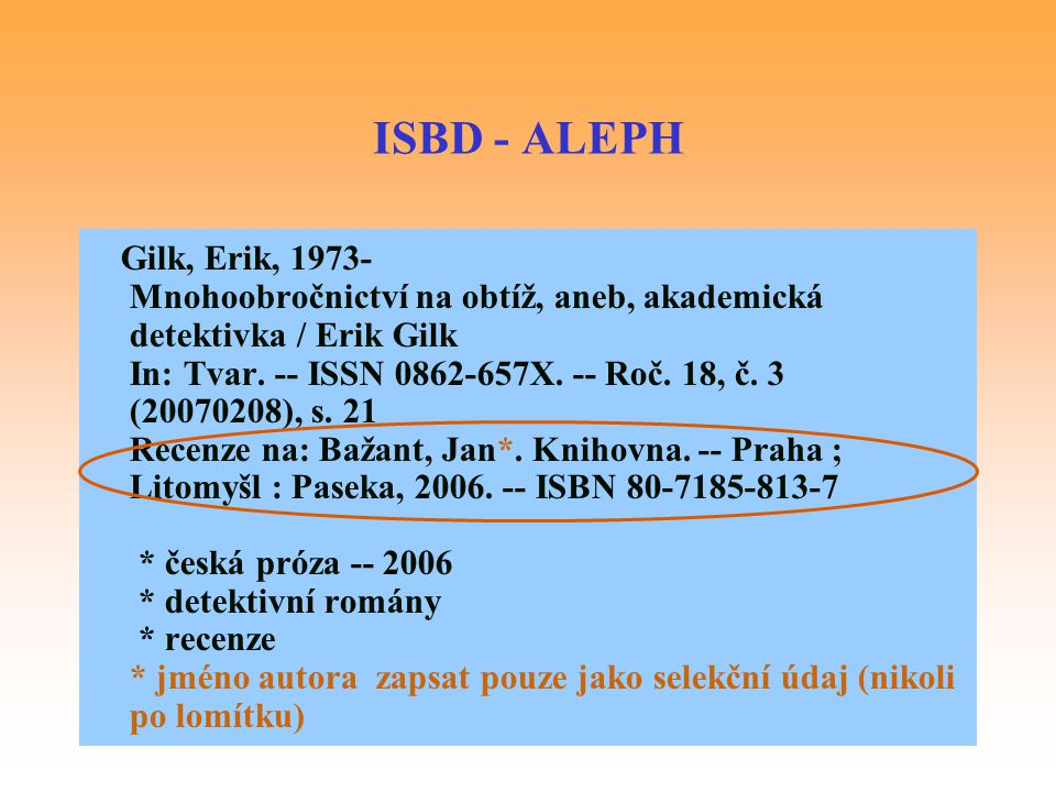 ISBD - ALEPH