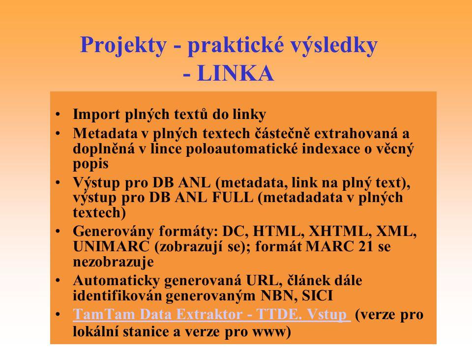 Projekty - praktické výsledky - LINKA