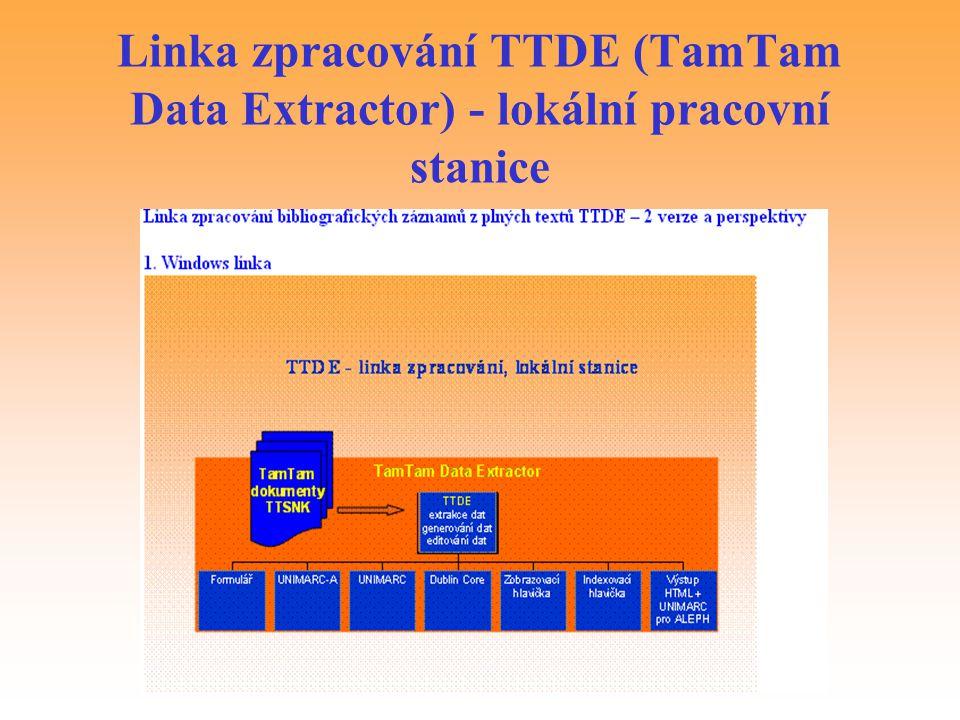 Linka zpracování TTDE (TamTam Data Extractor) - lokální pracovní stanice