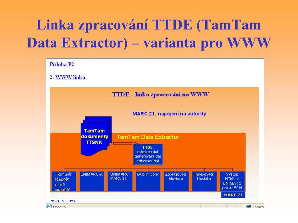 Linka zpracování TTDE (TamTam Data Extractor) – varianta pro WWW