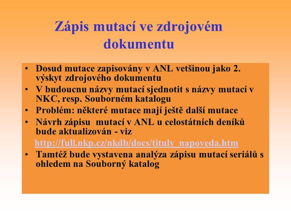 Zápis mutací ve zdrojovém dokumentu
