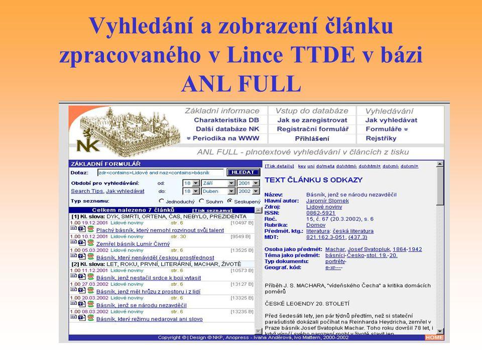 Vyhledání a zobrazení článku zpracovaného v Lince TTDE v bázi ANL FULL