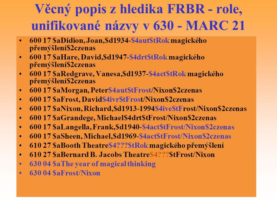 Věcný popis z hledika FRBR - role, unifikované názvy v 630 - MARC 21