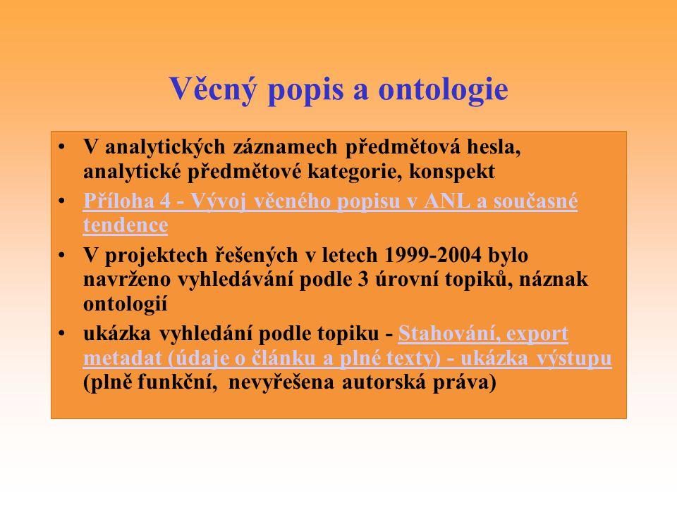 Věcný popis a ontologie