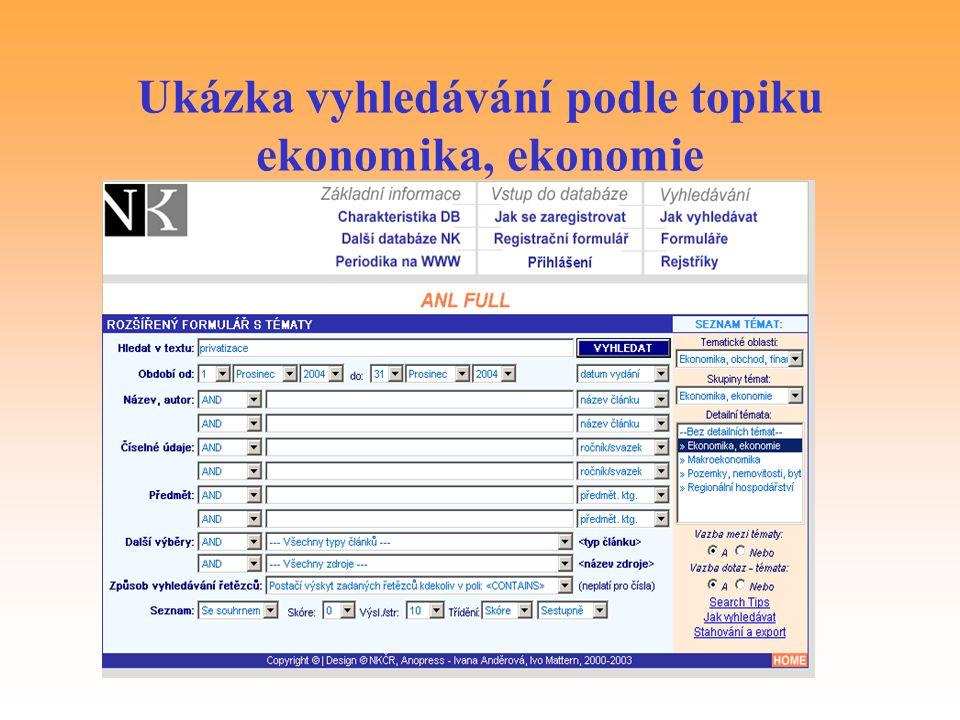 Ukázka vyhledávání podle topiku ekonomika, ekonomie
