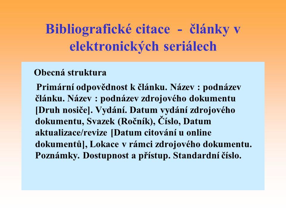 Bibliografické citace - články v elektronických seriálech