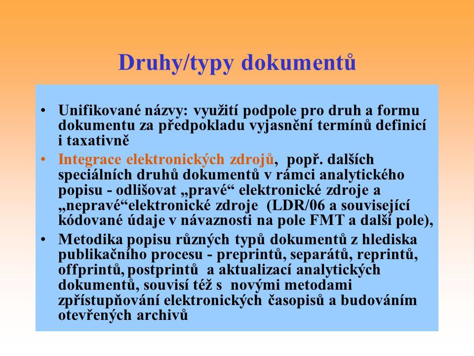 Druhy/typy dokumentů Unifikované názvy: využití podpole pro druh a formu dokumentu za předpokladu vyjasnění termínů definicí i taxativně.