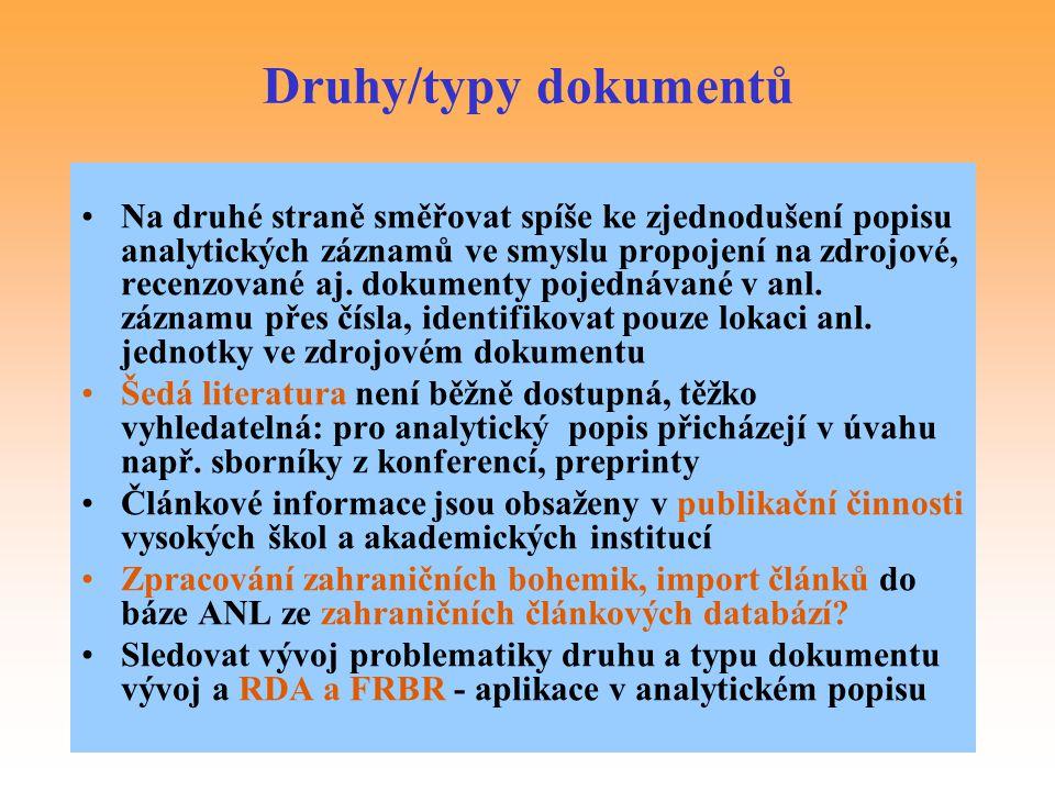 Druhy/typy dokumentů
