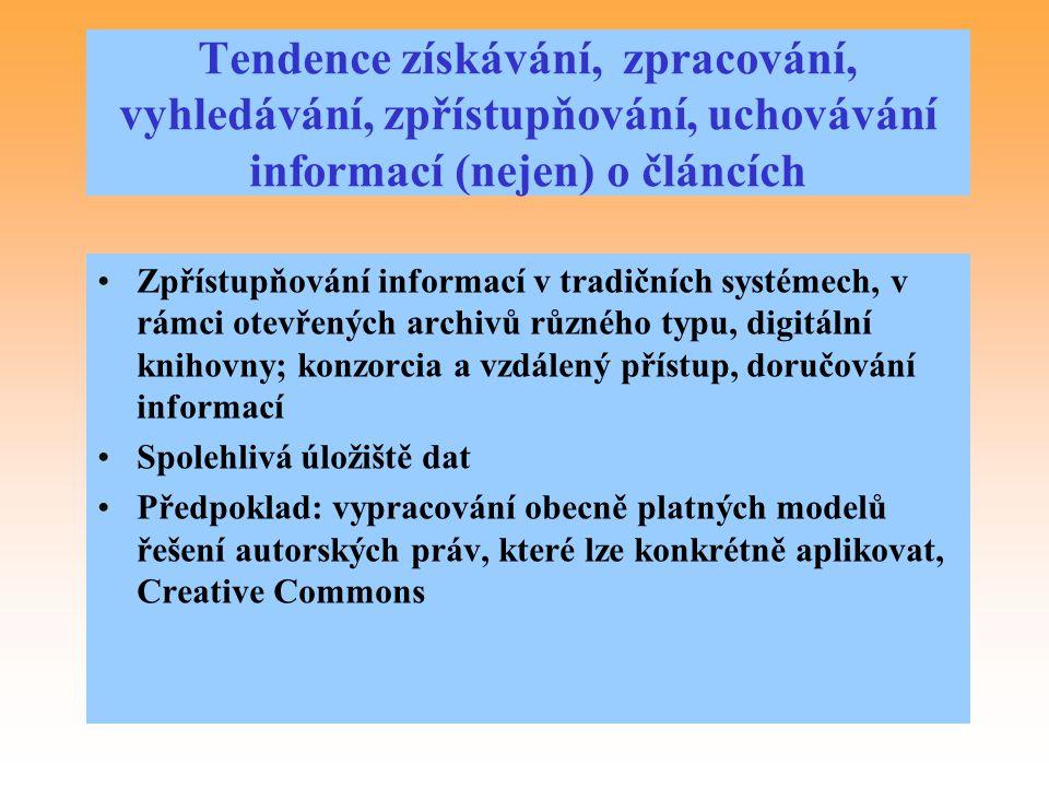 Tendence získávání, zpracování, vyhledávání, zpřístupňování, uchovávání informací (nejen) o článcích