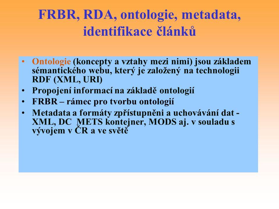 FRBR, RDA, ontologie, metadata, identifikace článků