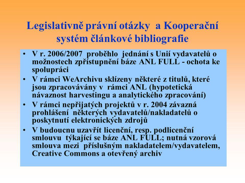 Legislativně právní otázky a Kooperační systém článkové bibliografie
