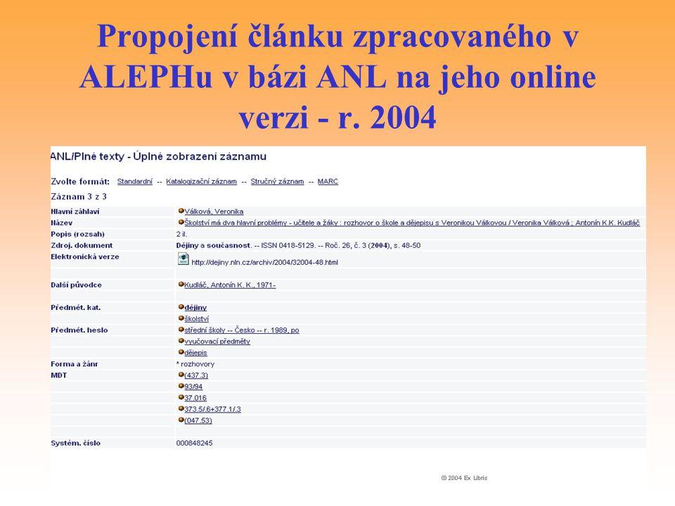 Propojení článku zpracovaného v ALEPHu v bázi ANL na jeho online verzi - r. 2004