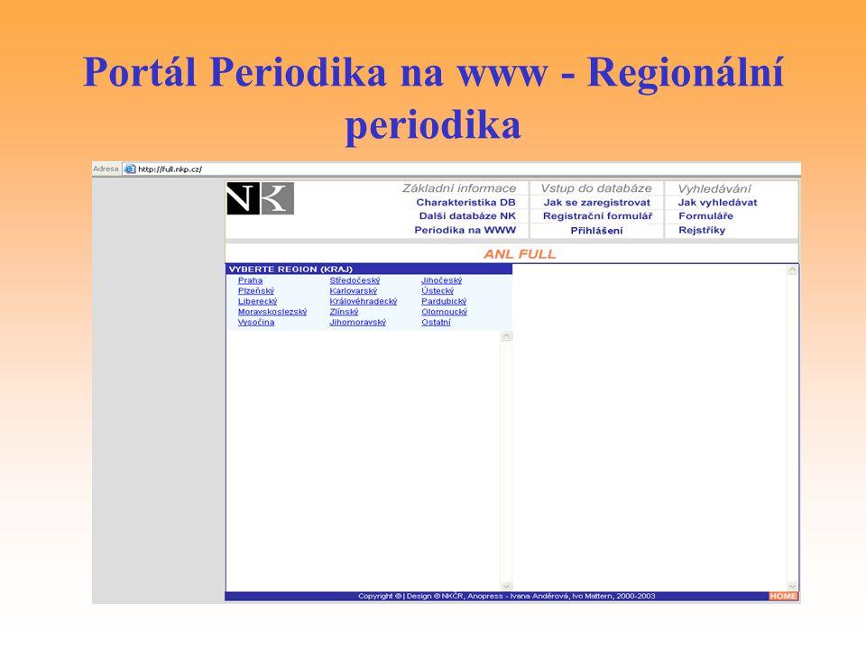 Portál Periodika na www - Regionální periodika