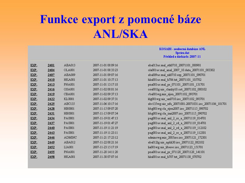 Funkce export z pomocné báze ANL/SKA