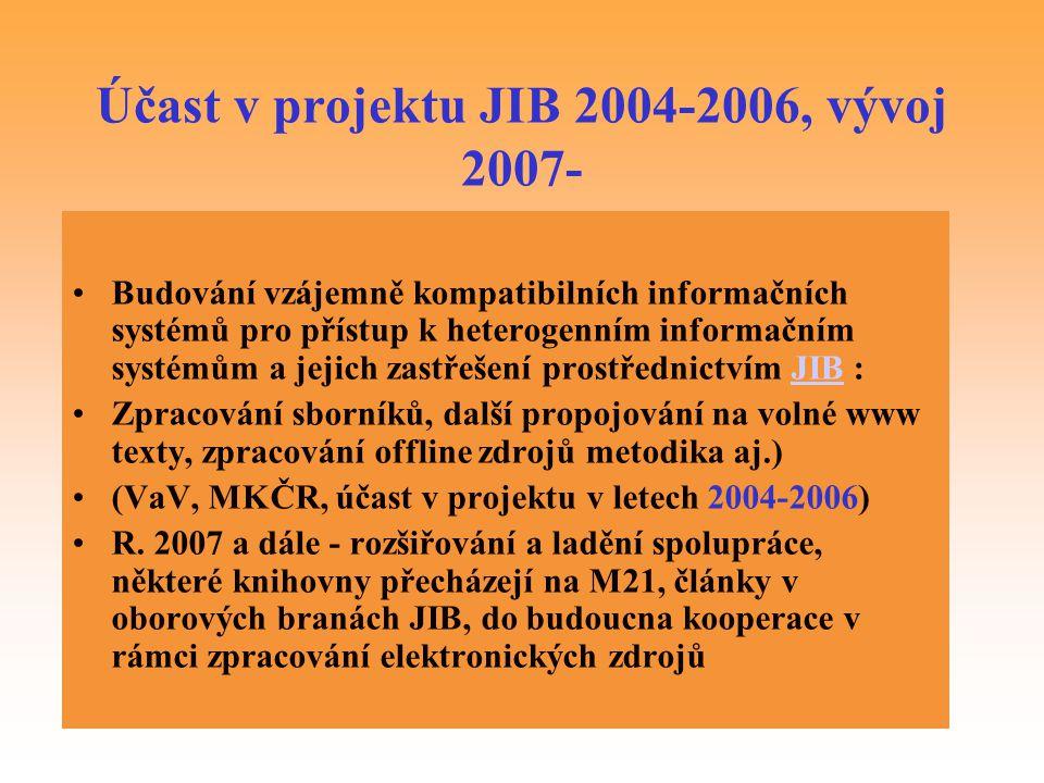 Účast v projektu JIB 2004-2006, vývoj 2007-