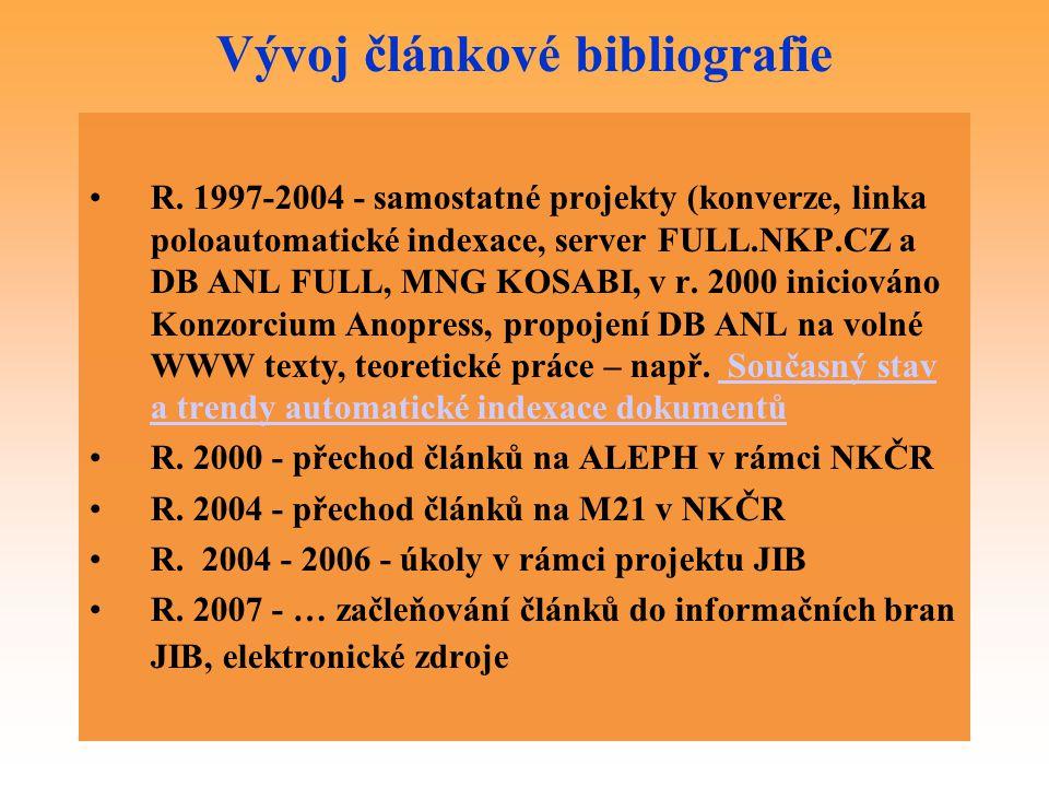 Vývoj článkové bibliografie