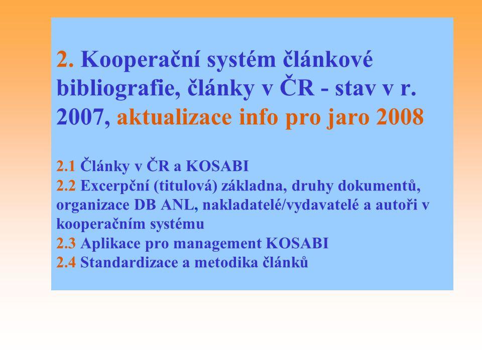 2. Kooperační systém článkové bibliografie, články v ČR - stav v r
